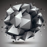 Complicated abstract grayscale 3D shape, vector digital lattice Stock Photography