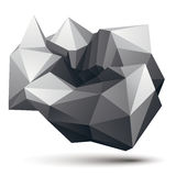Complicated abstract grayscale 3D shape, vector digital object. Stock Photo