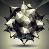 Complicated abstract grayscale 3D shape, vector digital object. Technology theme Stock Illustration