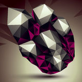 Complicated abstract grayscale 3D shape, vector digital object. Stock Images