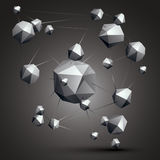Complicated abstract grayscale 3D shapes, vector digital object. Technology theme Vector Illustration