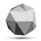Complicated abstract grayscale 3D striped shape, vector digital Stock Image