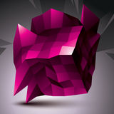 Complicated abstract purple 3D shape, vector digital object. Technology theme. royalty free illustration
