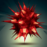 Complicated abstract red 3D shape, vector digital object. Technology theme Royalty Free Stock Photos