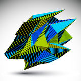 Complicated contrast eps8 figure constructed from triangles with. Parallel lines. Cybernetic striped sharp element, Bright asymmetric illustration for Royalty Free Stock Images
