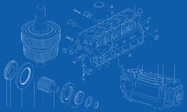 Complicated engineering drawing of car engine sect. Complicated mechanical and engineering drawing of different car engine sections on blue background Royalty Free Stock Photos