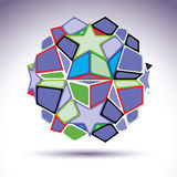 Complicated kaleidoscope 3d sphere constructed from colorful geo Royalty Free Stock Photography