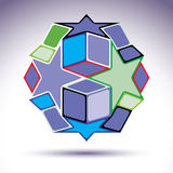 Complicated kaleidoscope 3d spherical object constructed from co Royalty Free Stock Photos