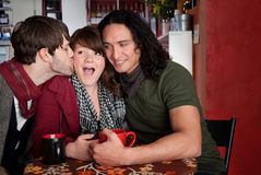 Complicated love triangle. A complicated love triangle at a coffee house Stock Photography