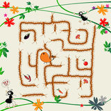 Complicated maze. Cartoon art illustration with funny ants and maze Royalty Free Stock Image