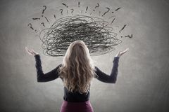 Complicated problems and stress. Women with complicated problems and stress stock photo