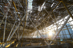 Complicated scaffold for building roof construction Royalty Free Stock Photo