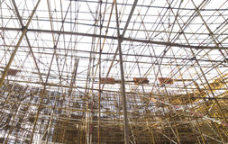 Complicated scaffold for building roof construction Royalty Free Stock Photos