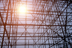 Complicated scaffold for building roof construction Stock Photos
