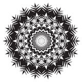 Complicated Single Round Pattern Design in Black and White Royalty Free Stock Photo