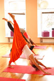 Complicated yoga pose Royalty Free Stock Image