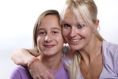 Complicity between mother and daughter. The Complicity between mother and daughter royalty free stock photos