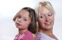 Complicity between mother and daughter. The Complicity between mother and daughter royalty free stock images