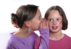 Complicity between sisters. On a white background royalty free stock photo