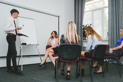 Compliment office successful man team. Compliment office successful men team concept. encouragement for a good presentation. privileges for active workers stock image