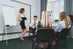 Compliment office successful woman team. Compliment office successful women team concept. encouragement for a good presentation. privileges for active workers stock images