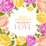 Complimentary of rose frame. Vector illustration Royalty Free Stock Photos