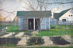 Complot de jardin avec le hangar et la ferme Photographie stock libre de droits