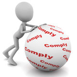 Comply. Or compliance concept, little man rolling a ball with  words written on it Stock Image