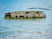 Component of artificial Mulberry Harbour in Normandy Royalty Free Stock Photo