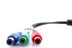 Component cable. A component video cable over white background stock photography