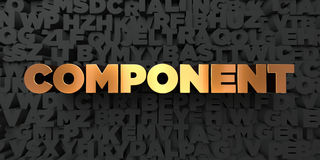 Component - Gold text on black background - 3D rendered royalty free stock picture Royalty Free Stock Photography