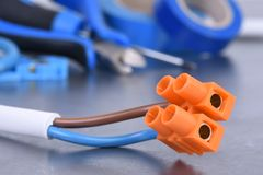 Component and tools for electrical installation Stock Image