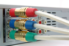 Component video cable connected the dvd player Royalty Free Stock Images
