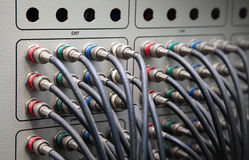Component video cables connection panel Stock Photos