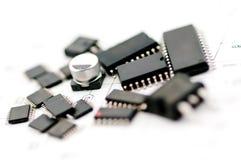 Componente electrónico del condensador Fotografía de archivo