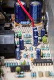 Componenten van een elektronische kring op motherboard royalty-vrije stock foto's