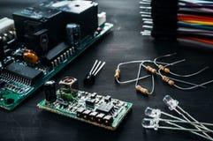 Componenten voor diy elektronikaontwikkeling, Royalty-vrije Stock Foto's