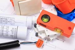 Componentes bondes, acessórios para projetar trabalhos e diagramas Foto de Stock