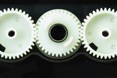 Componentes brancos da engrenagem da impressora fotografia de stock royalty free