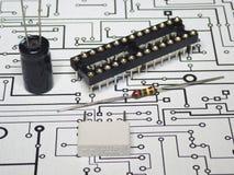 Componentes da eletrônica e PWB fotos de stock