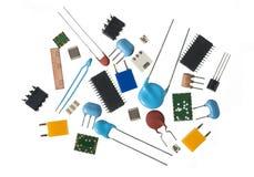 Componentes da eletrônica, fundo branco Imagem de Stock