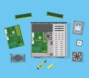 Componentes de computador pessoal dos desenhos animados Vetor ilustração royalty free