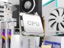 Componentes de hardware de PC aislados en blanco representación 3d ilustración del vector