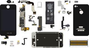 Componentes de Iphone 4S desmontados ilustración del vector