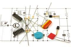 Componentes de la electrónica Imagenes de archivo