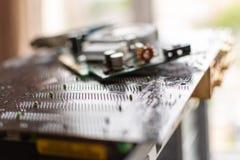 Componentes de una tarjeta de vídeo de computadora personal inmóvil de la placa madre foto de archivo libre de regalías