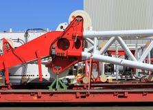 Componentes do equipamento da carga na fábrica Liebherr da construção do guindaste, foto de stock royalty free
