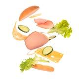 Componentes do hamburguer fotografia de stock