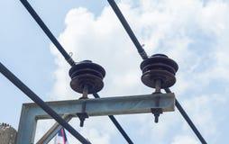 Componentes do isolador em um central elétrica Imagens de Stock
