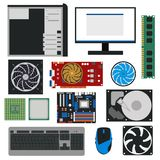 Componentes do PC dos desenhos animados para o grupo da loja de informática Vetor ilustração do vetor